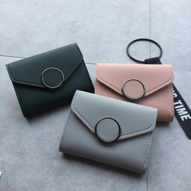 財布 レディース シンプル puレザー 財布 サークルバックル 大容量 シンプル サイフ カード入れ 札入れ