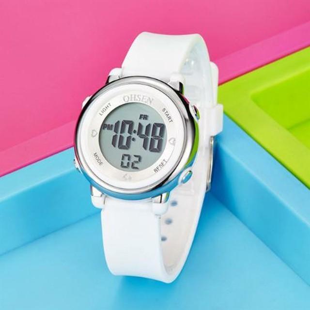 レディース スポーツウォッチ 腕時計 ホワイト 白 防水 LED デジタル 多機能 メンズ ガール ボーイ Trendy-24-white