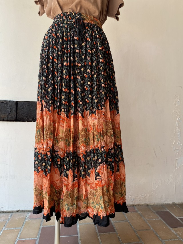 flower pattern rayon skirt [1107]