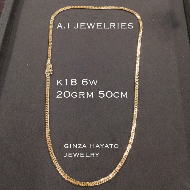 k18 18金 20g 50cm 6面ダブル 喜平 ネックレス ジュエリー 6cut double necklace