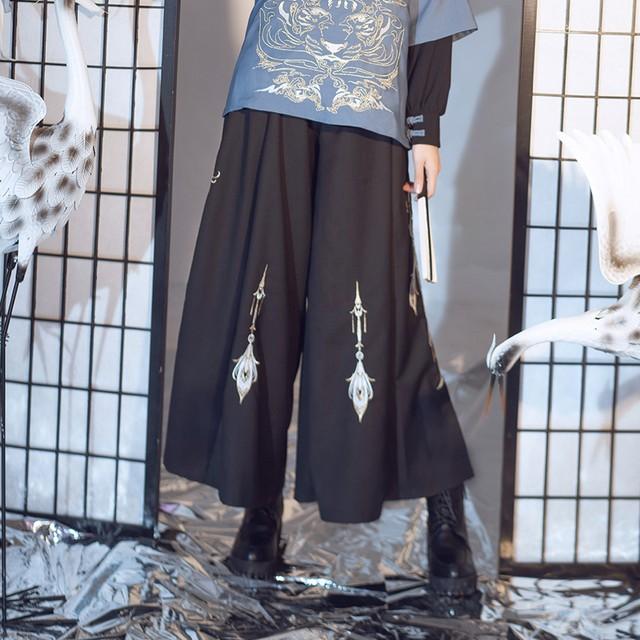 【卿棠シリーズ】★チャイナ風ズボン★ 刺繍 男女兼用衣装 カップル服 メンズ ガウチョパンツ ブラック 黒い