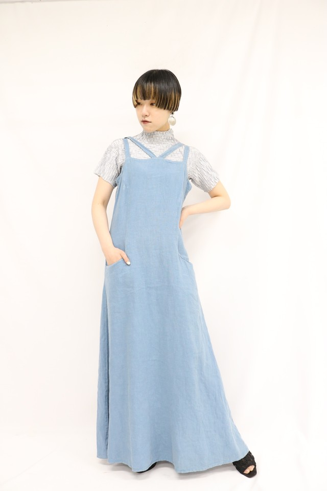cross strap long linen dress / 4SSOP20-07