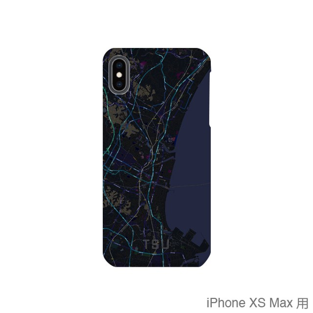 【津】地図柄iPhoneケース(バックカバータイプ・ブラック)