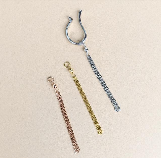 Ear Cuff Charm | Silver Chain Tassel