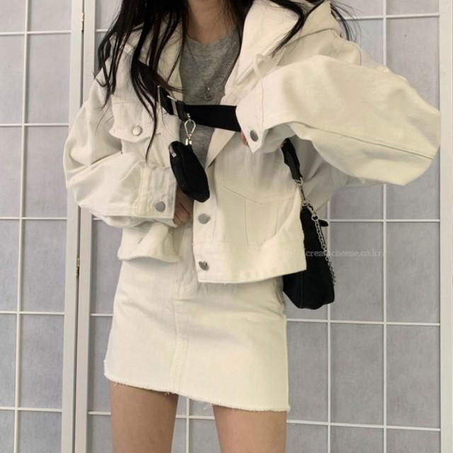 【送料無料】ホワイトコーデ♪セットアップ♡ジャケット スカート 2点セット デニム ホワイトコーデ ワントーン カジュアル 着回し デート デイリー