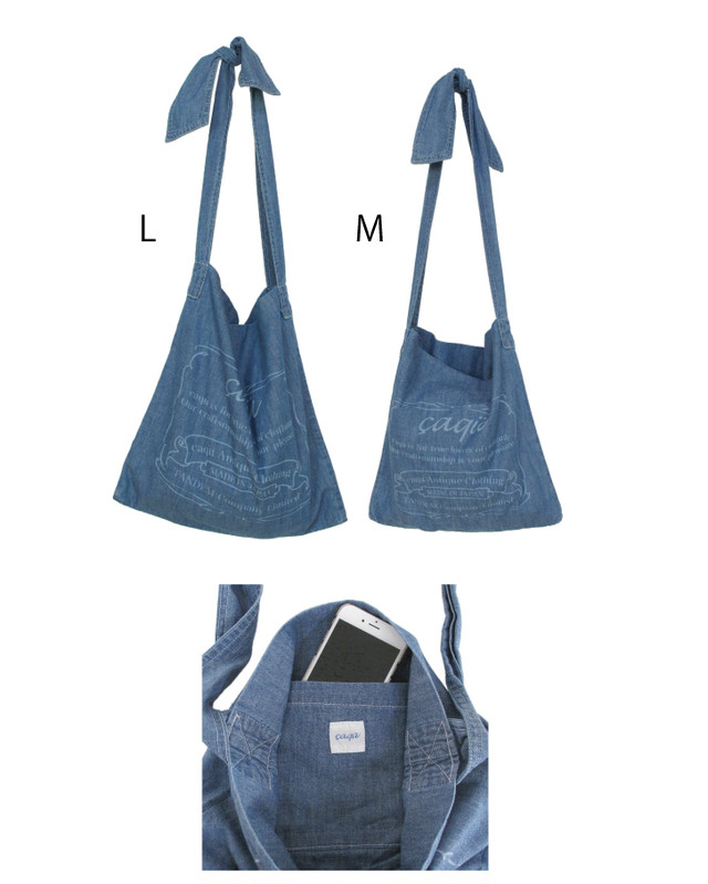 denim ribbon bag large - メイン画像