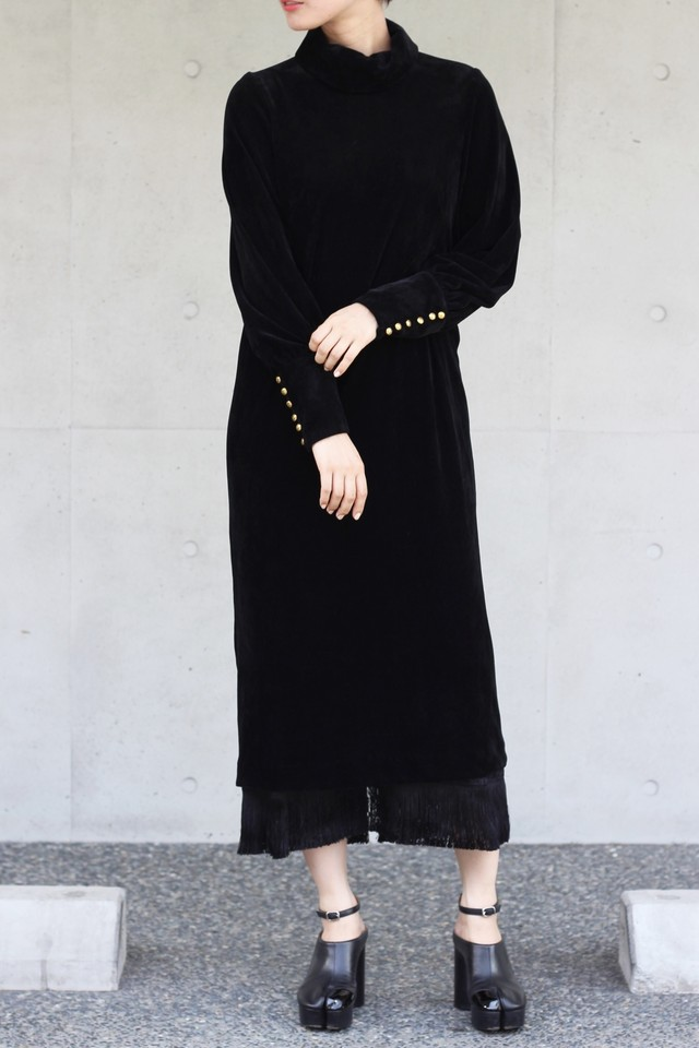【eicayoshinari】tule velvet fringe dress-black