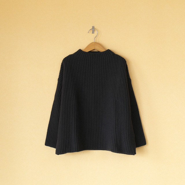 evam eva エヴァムエヴァ soft wool high necked pullover ソフトウールハイネッククルオーバー・ストーングレイ