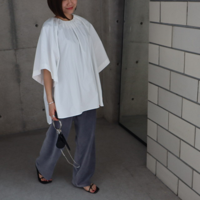 先行品 front tuck poncho blouse (ivory)