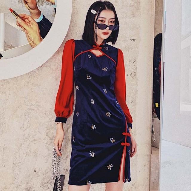 チャイナドレス 中華服 ショート丈 パーティー 二次会 ベルベット 刺繍 大きいサイズ S M L LL