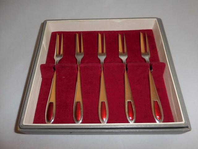 安藤七宝フォーク6客 silver & enamel six forks