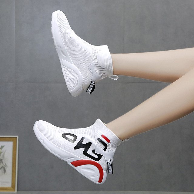【シューズ】ファッション丸トゥミドルヒールメッシュ厚底スニーカー24809299