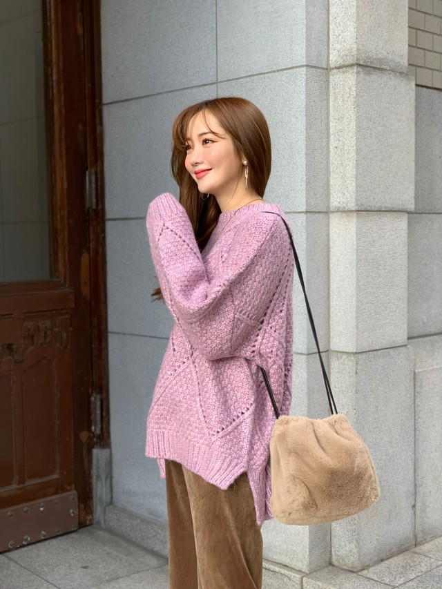 【30%OFF SALE】eyelet mix knit / pink  (即納)