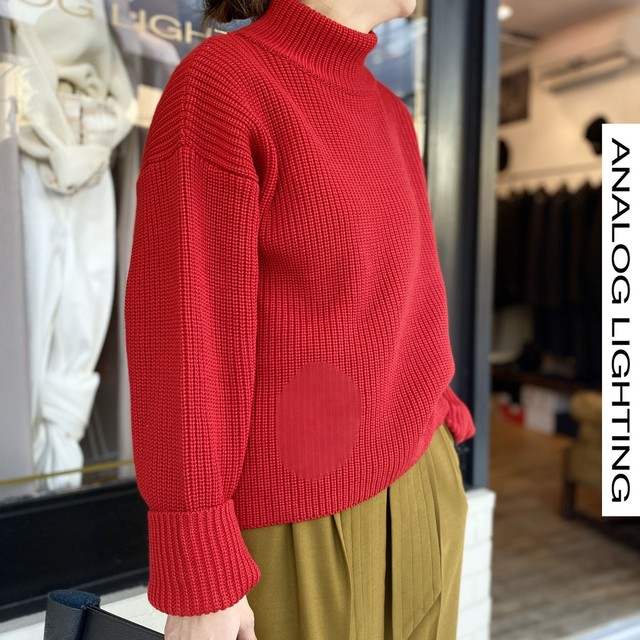 STAND NECK KNIT/RED