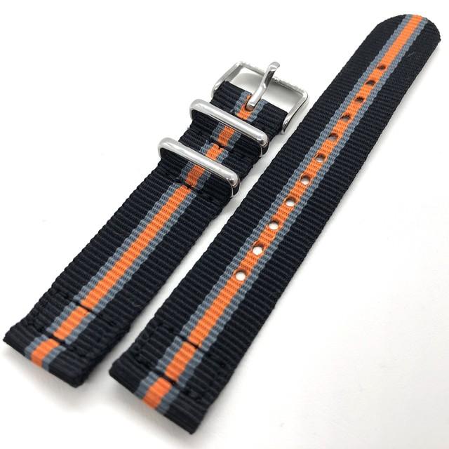 セパレート(2ピース) NATOナイロンストラップ ブラック/オレンジ/グレー 18mm 腕時計ベルト