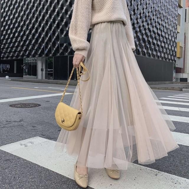 チュールスカート シフォン ロングスカート シンプル 5色 B3297【4/6まで10%OFF!!】