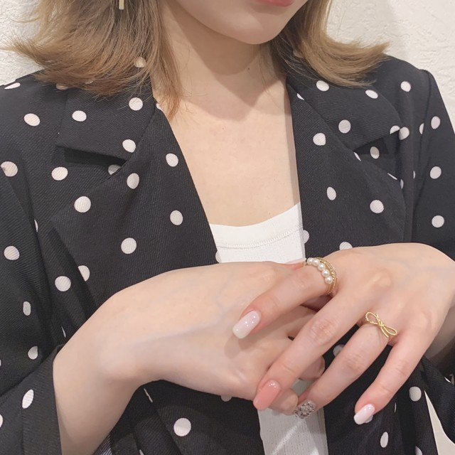 ribbon pearl set ring (S19-10084K)
