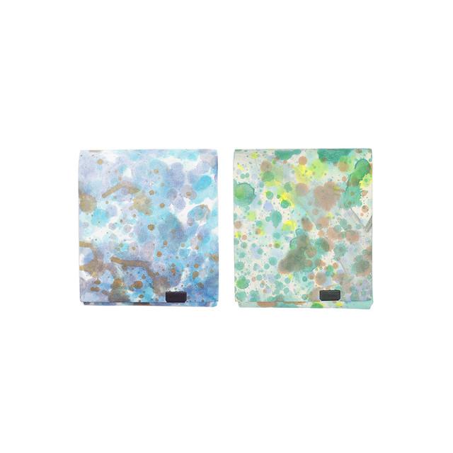 印象派 ショートウォレット2.0  ブルー&グリーン
