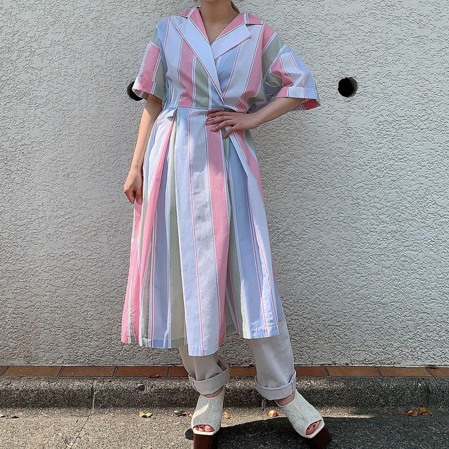 "80's USA vintage ""Carriage Court sport"" pastel color onepiece"