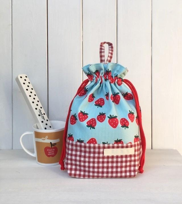 給食袋マチあり  水色いちご柄×赤ギンガムチェック