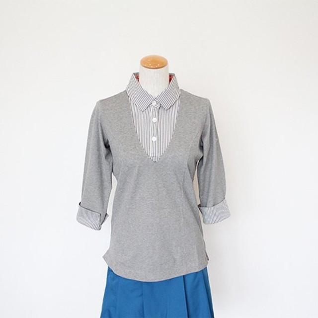 【 Tee-chi 5周年SALE 】Tee-chi レディースポロシャツ(七分袖)<GREY>