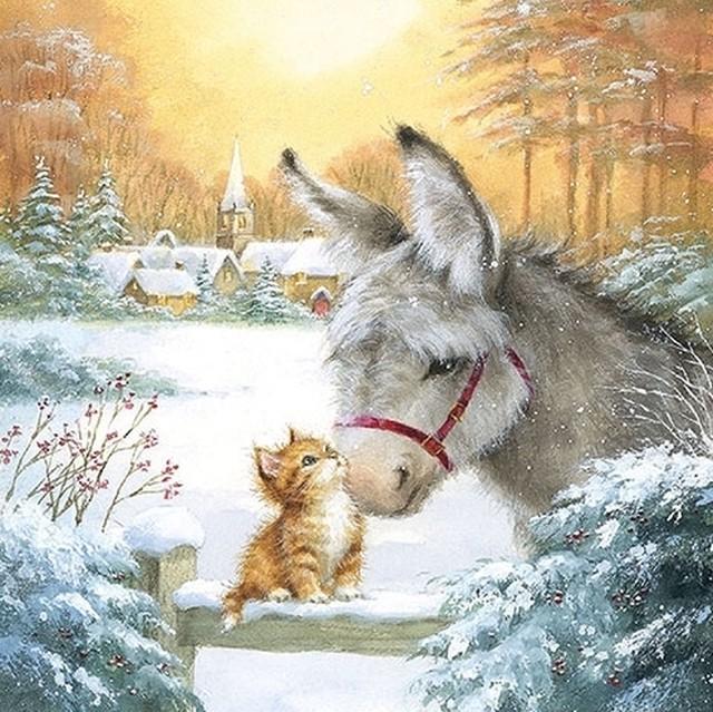 【Ambiente】バラ売り2枚 ランチサイズ ペーパーナプキン Donkey And Kitten ホワイト