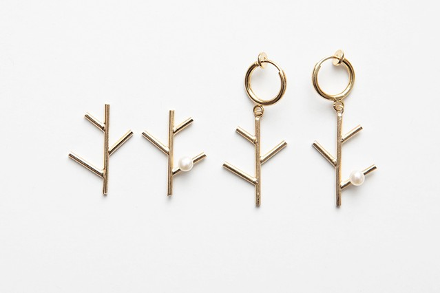 branch & pearl posts & earring
