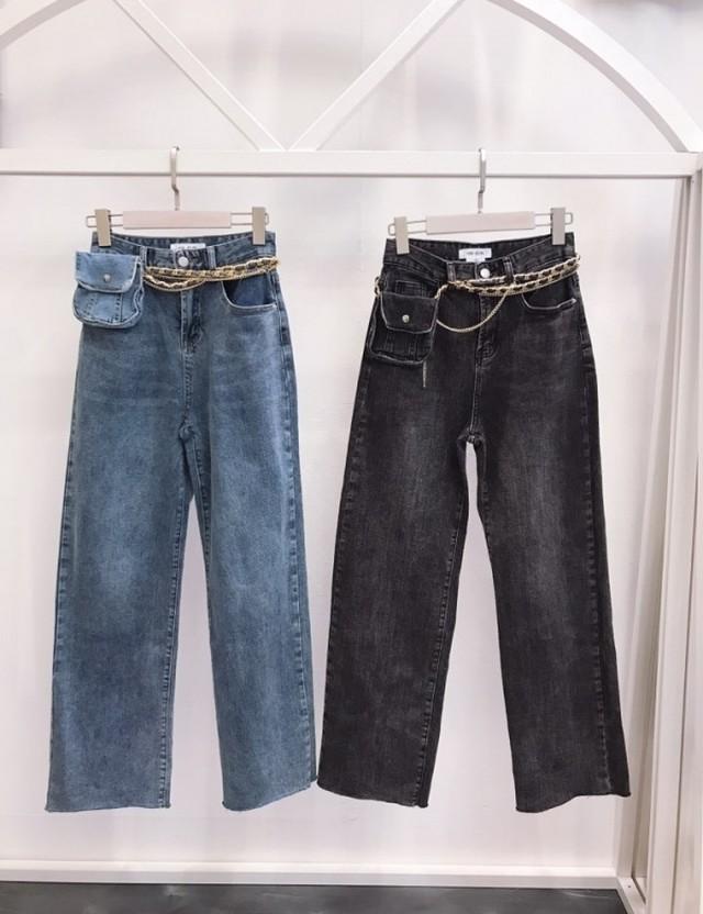 バーニングベルトジーンズ ジーンズ デニム 韓国ファッション
