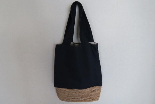 リネンとコットンラフィアのバッグ(ネイビー)