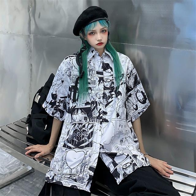 【トップス】insレトロ半袖シングルブレストPOLOネックシャツ27203108