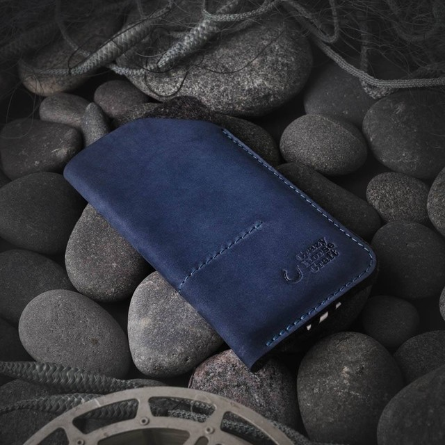 107 Leather Phone Case / Wallet with Card Pockets Ocean Blue