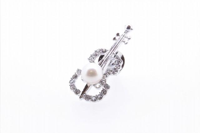 アコヤ真珠 ピンブローチ〈バイオリン〉