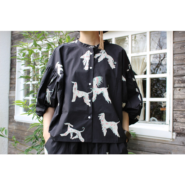 【folk made】F20AW-002 afghan hound gather blouse Free