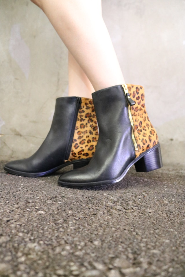 leopard × leather boots / GD10220013