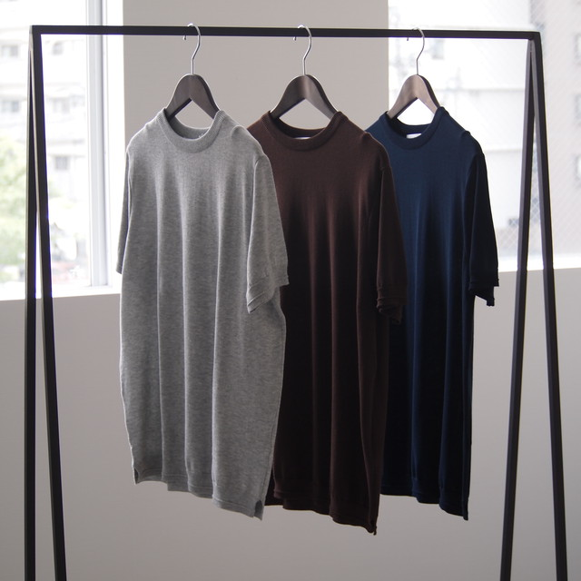 FUJITO / Knit T-Shirt [Top Gray / Brown / Navy]