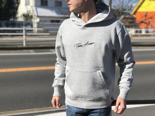 ThreeArrows刺繍メッセージパーカー(grey)