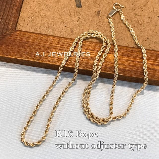 K18 18金 ロープ 40cm レディース ネックレス necklace rope