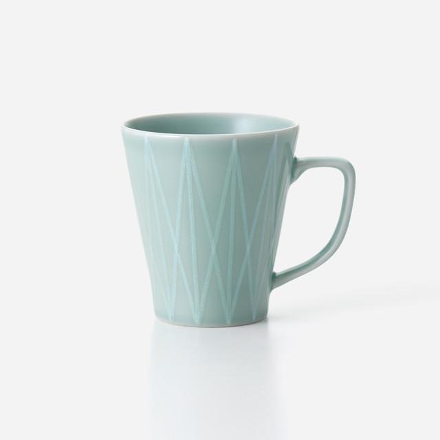 青磁光彩 マグカップ 幾何学