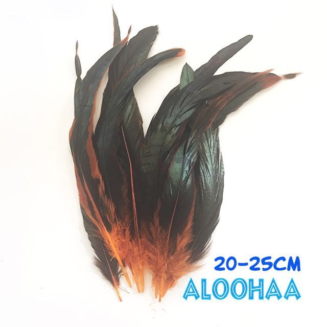 ロングフェザー 【オレンジ】20-25cm タヒチアン 衣装 材料 ルースターテール 染め 羽根