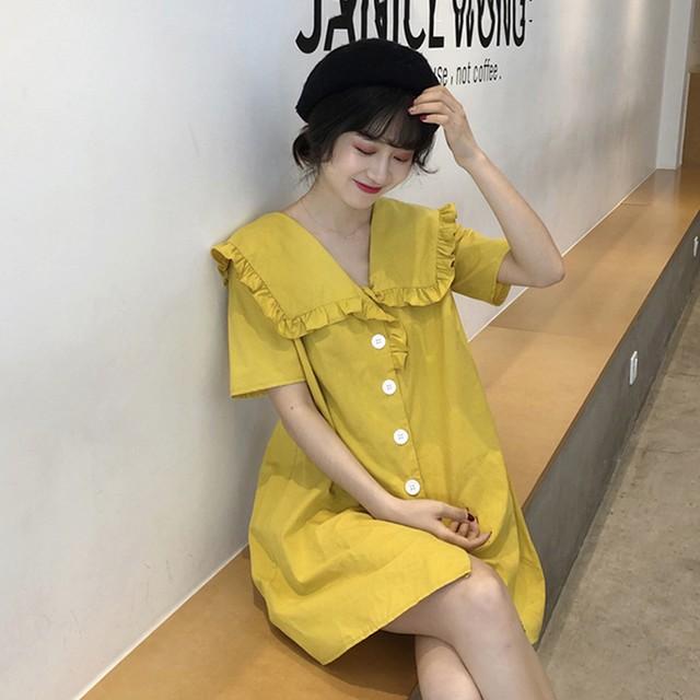 【dress】カジュアルワンピースVネック無地エレガント着心地よい