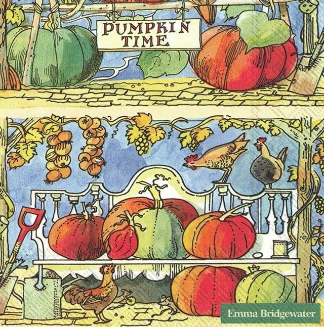 入荷しました|完売再入荷【Emma Bridgewater】バラ売り2枚 ランチサイズ ペーパーナプキン PUMPKIN TIME オレンジ