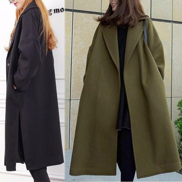 ロングコート 長袖 ビッグシルエット 大きいサイズ Vネック グリーン ブラック 無地 体型カバー シンプル 上品 定番 秋 冬 fsk1341