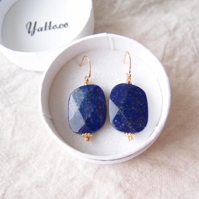 ラピスラズリのフックピアス【K14gf】Lapis lazuli