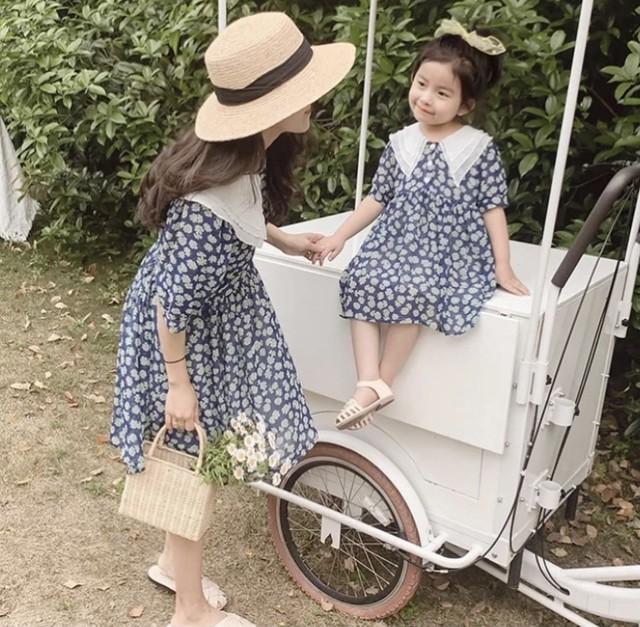 商品番号1118 母娘リンク 花柄襟付きシフォンワンピースMom