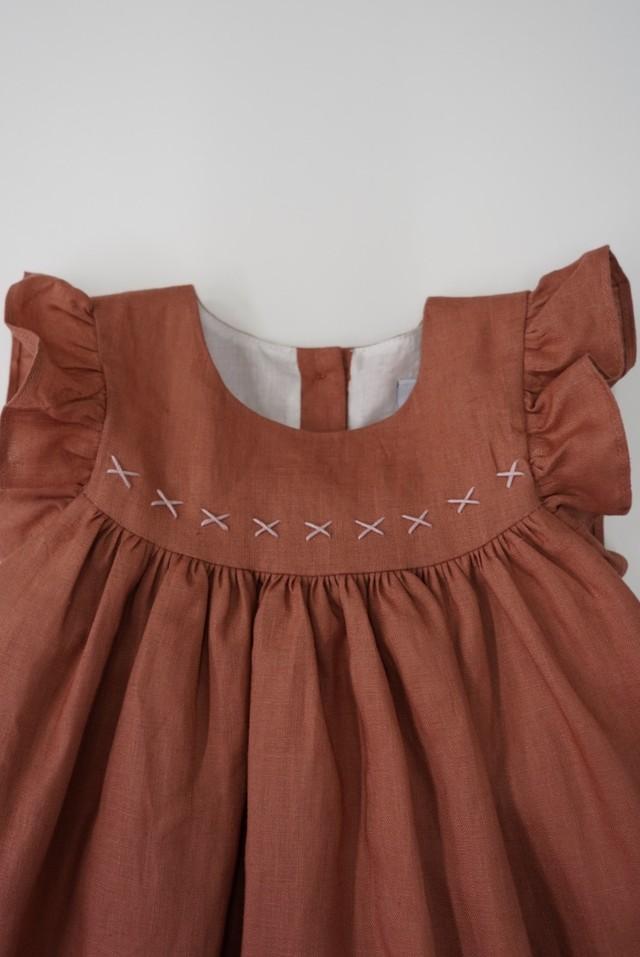 Pretty Wildkids / Tia Dress Coral Linen