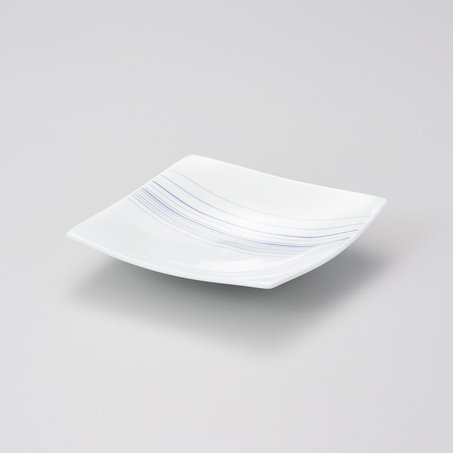 【中仙窯】白磁 四方上がり線刻皿