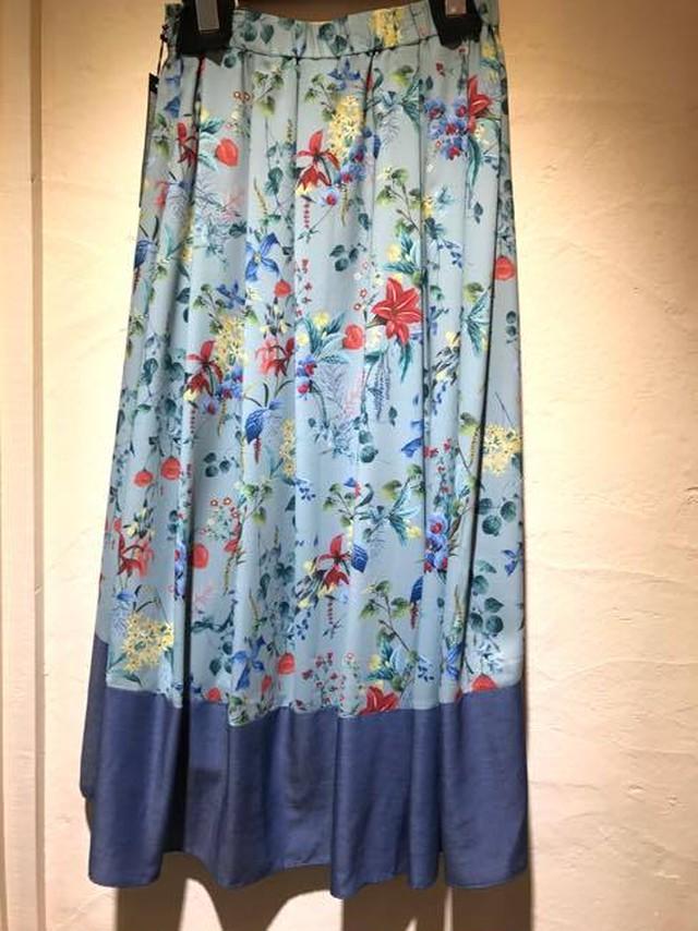 ヴィンテージ風フラワープリント カラーブロックスカート  ブルーグリーン