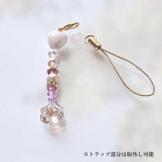【ピンク系】スワロフスキー ヘキサゴン型サンキャッチャーストラップ*チャーム