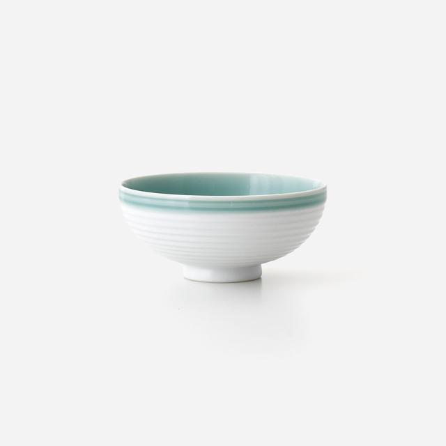 青磁白彩 飯碗(小)