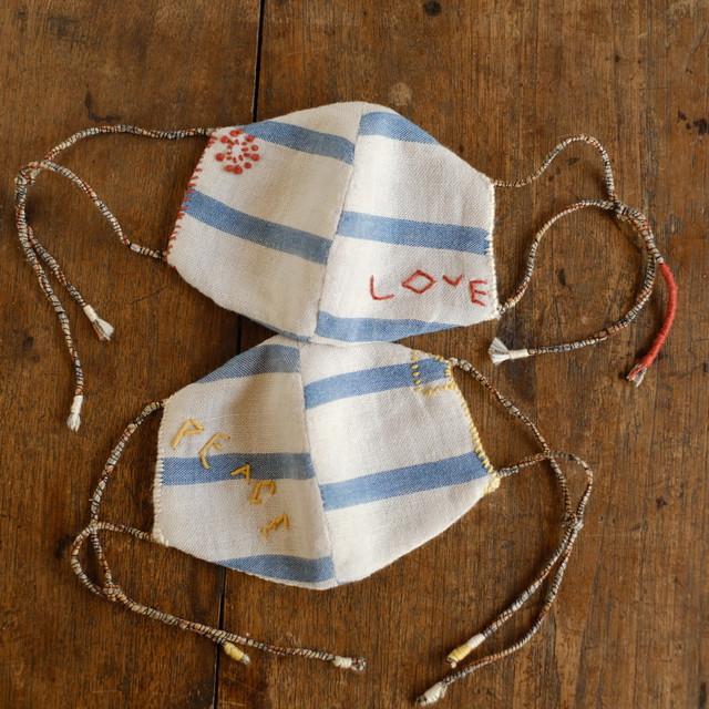 自然の布マスク #78 #79 藍染め綿麻と有機木綿 子供用サイズ